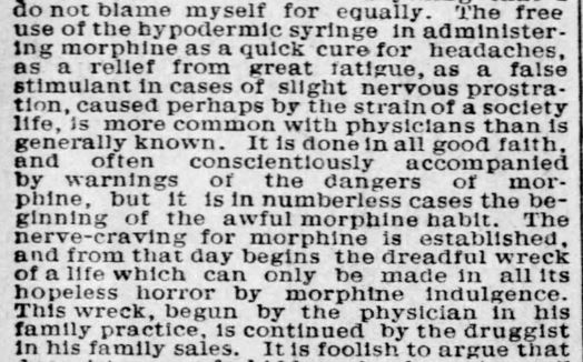 The role of physicians and druggists in morphine addiction. From the St. Louis Post-Dispatch, 1892