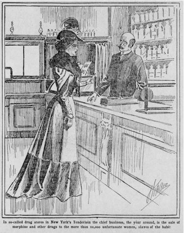 19th-century woman buys morphine from a druggist. From the Philadelphia Times, 1899