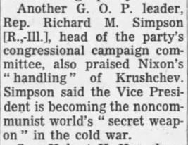 "Nixon called a ""secret weapon in the cold war"" (via the Chicago Tribune)"