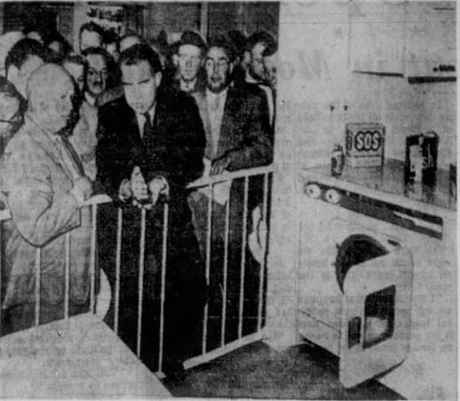 Khrushchev and Nixon talk in a model kitchen at the American exhibition in Moscow (via the Lincoln Journal Star)