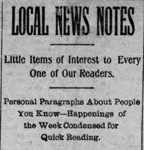 (From the Schuylkill Haven Call, 05.29.1903)