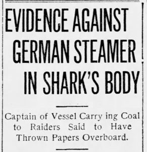 """Evidence Against German Steamer in Shark's Body"" (St. Louis Post-Dispatch, 11.21.1915)"