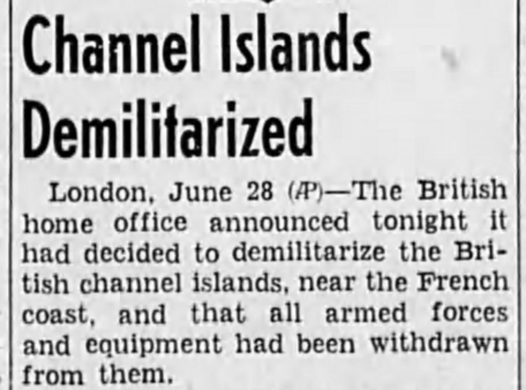 Guernsey demilitarized (The Capital Journal, 06.28.1940)