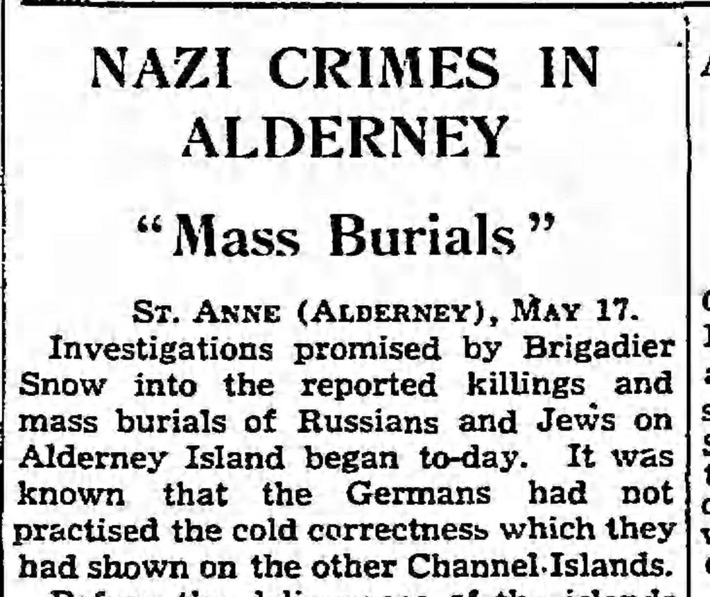 Nazi Crimes in Alderney, near Guernsey (The Guardian, 05.18.1945)