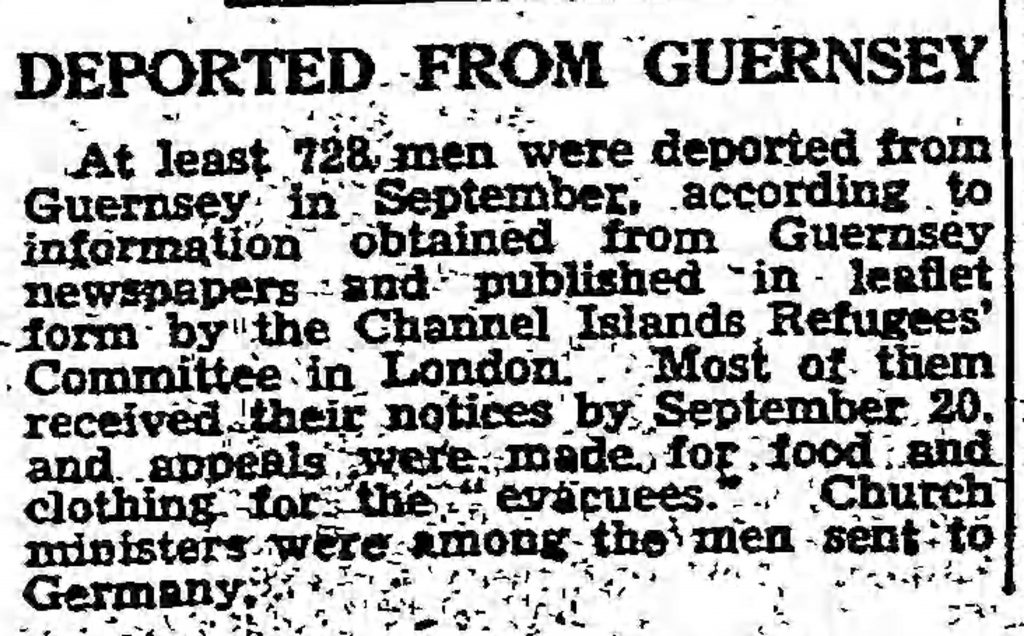 Deported from Guernsey (The Guardian, 12.14.1942)