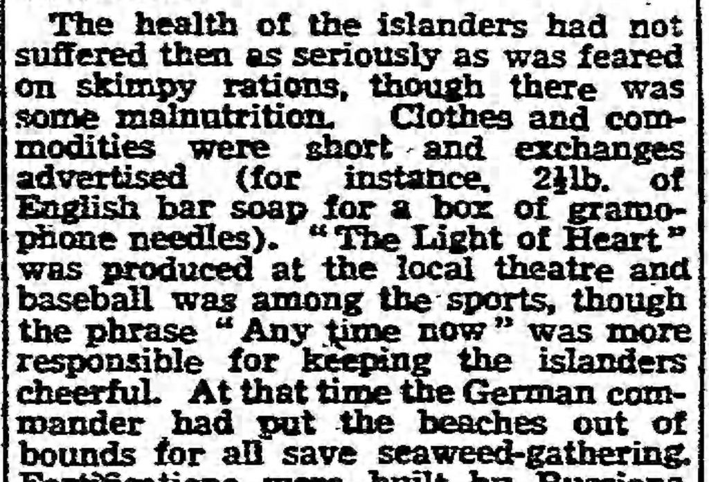 Conditions in Guernsey (The Guardian, 12.06.1943)