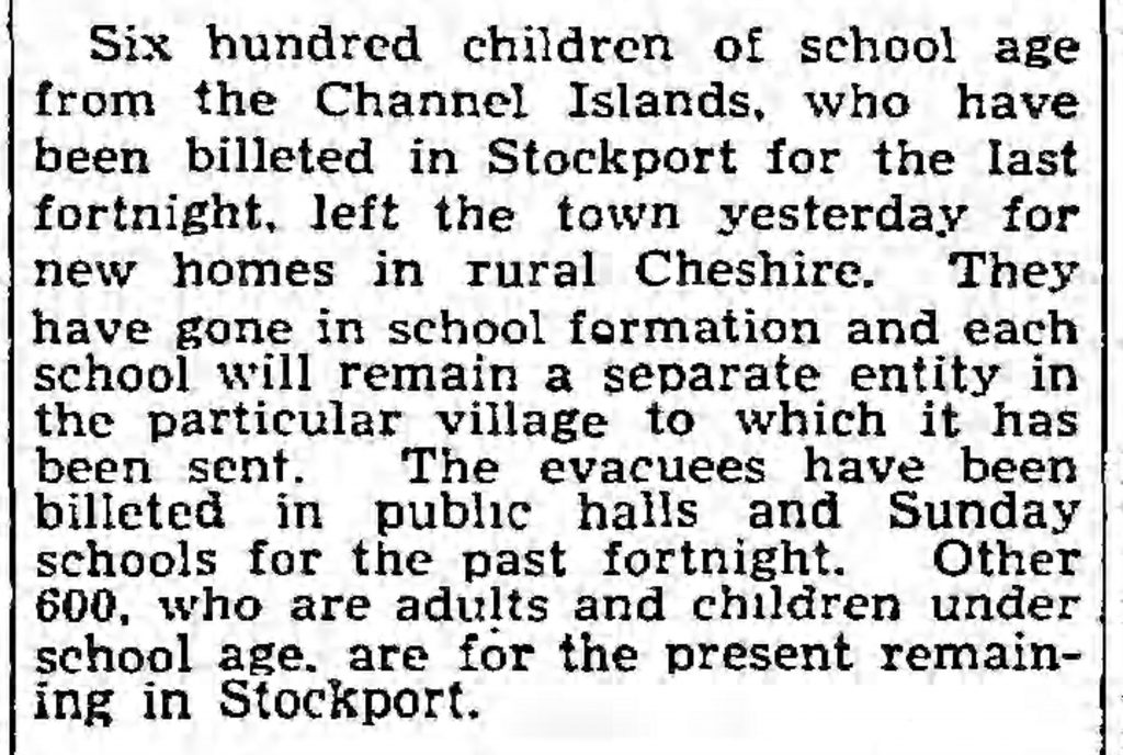 Guernsey/Channel Islands schoolchildren (The Guardian, 07.08.1940)