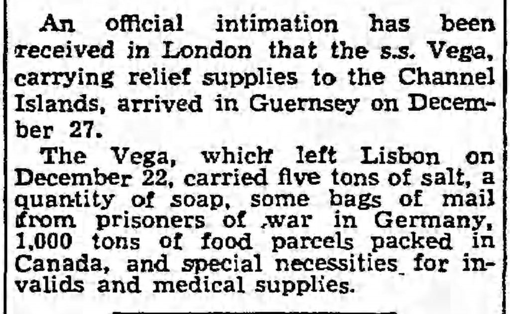 Relief ship arrives in Guernsey (The Guardian, 01.02.1945)