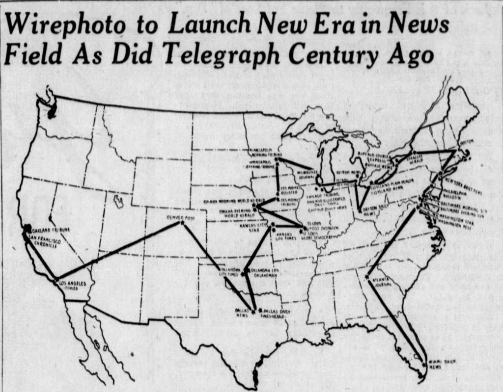 Map of original AP Wirephoto map (Dayton Daily News, 12.19.1934)