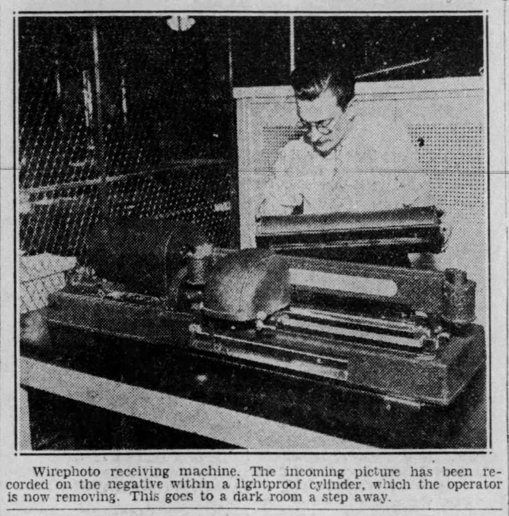 Wirephoto receiving machine (Hartford Courant, 01.13.1935)