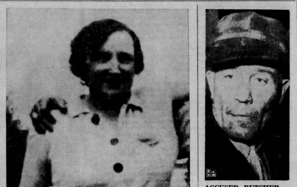 Mary Hogan (one of the victims) and Ed Gein. Stevens Point Journal, Nov 20, 1957
