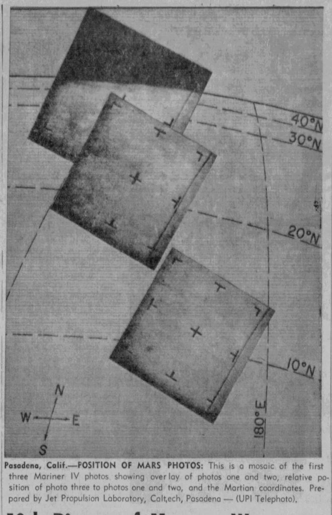 Photos of Mars sent back by Mariner 4 (Casper Star-Tribune, 07.20.1965)