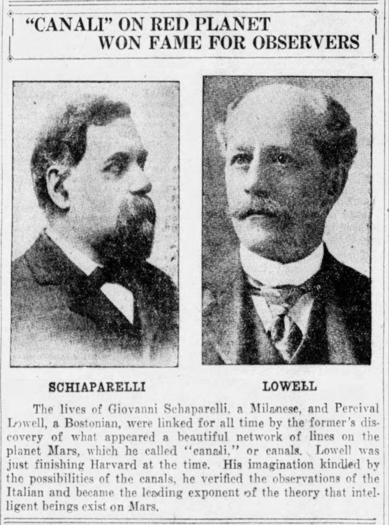 Schiaparelli and Lowell (The Hartford Daily Courant, 08.24.1924)