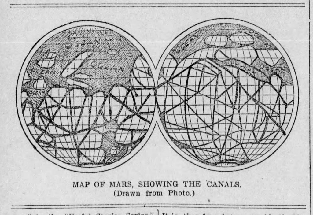 Map of the Mars canals [The Review, 10.27.1898]