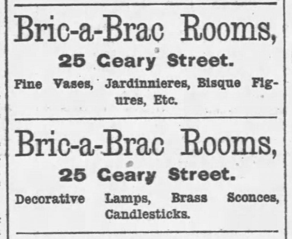 1882 bric-a-brac ad (The Daily Examiner, San Francisco, 12.19.1882)