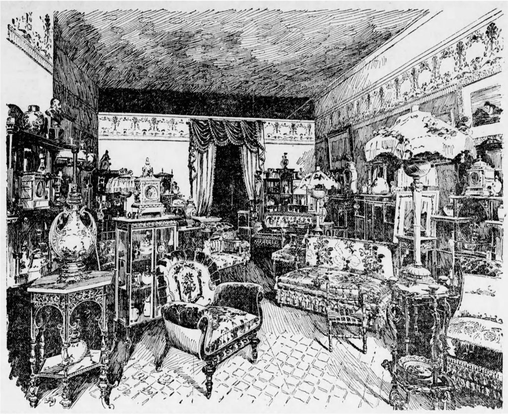 "An 1891 showroom for home furnishings, demonstrating the popular Victorian ""cluttered"" look (The Times—Philadelphia, 10.03.1891)"