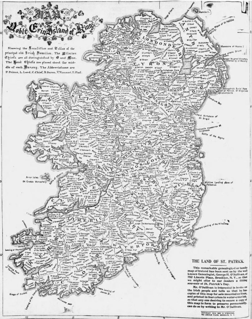 Genealogical map of Ireland, 1916. Go HERE to access the full-size image [Elmira Star-Gazette, 03.17.1916]
