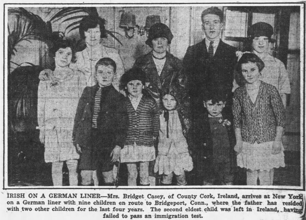 Irish immigrant family arriving in New York [Elmira Star-Gazette, 12.05.1929]