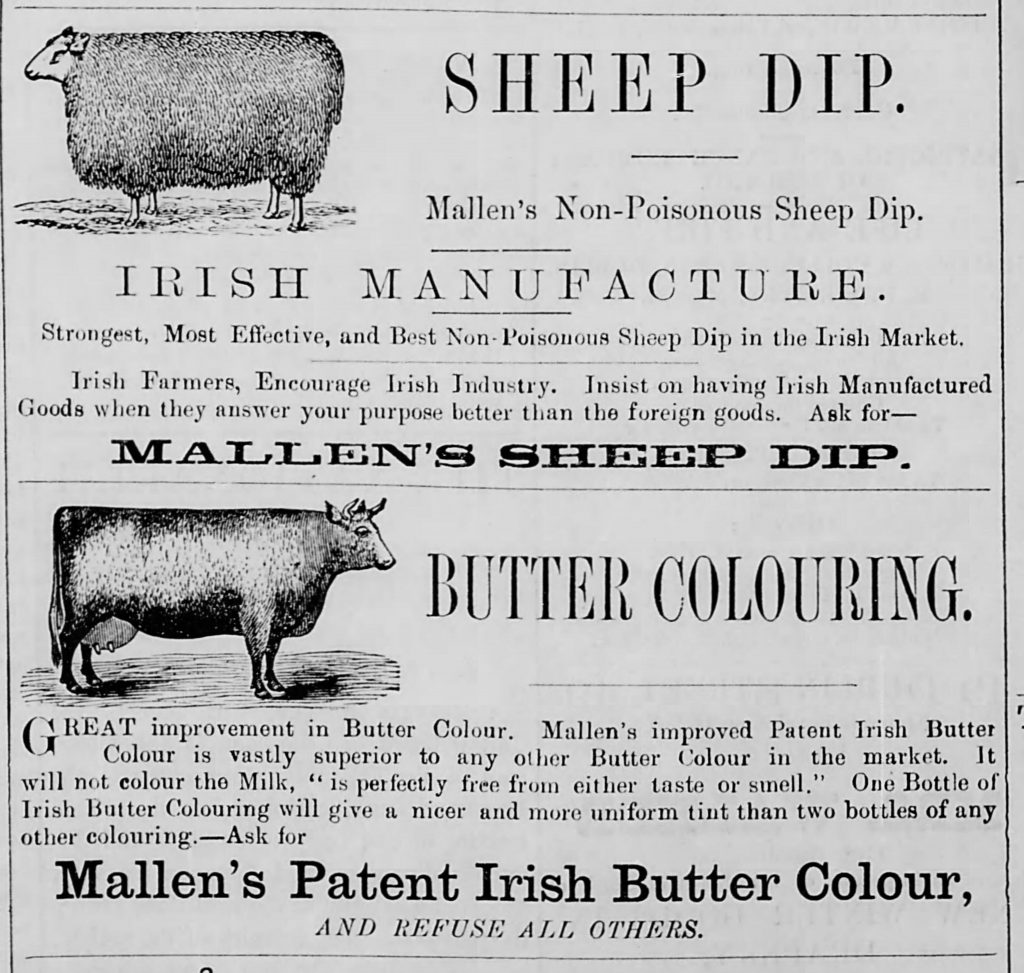 Ads in an Irish newspaper [The Nationalist and Leinster Times, 01.15.1887]