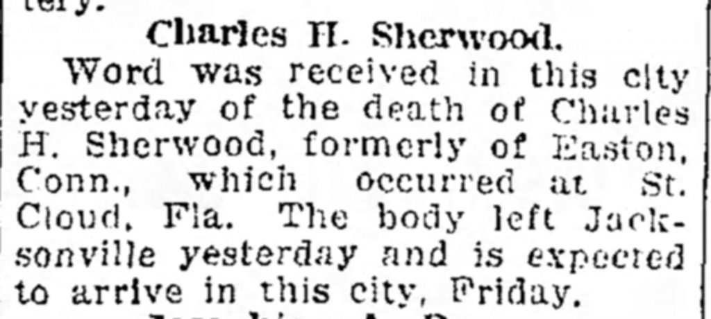 Example of a death notice for a man who died away from his hometown [Bridgeport Telegram, 01.24.1918]