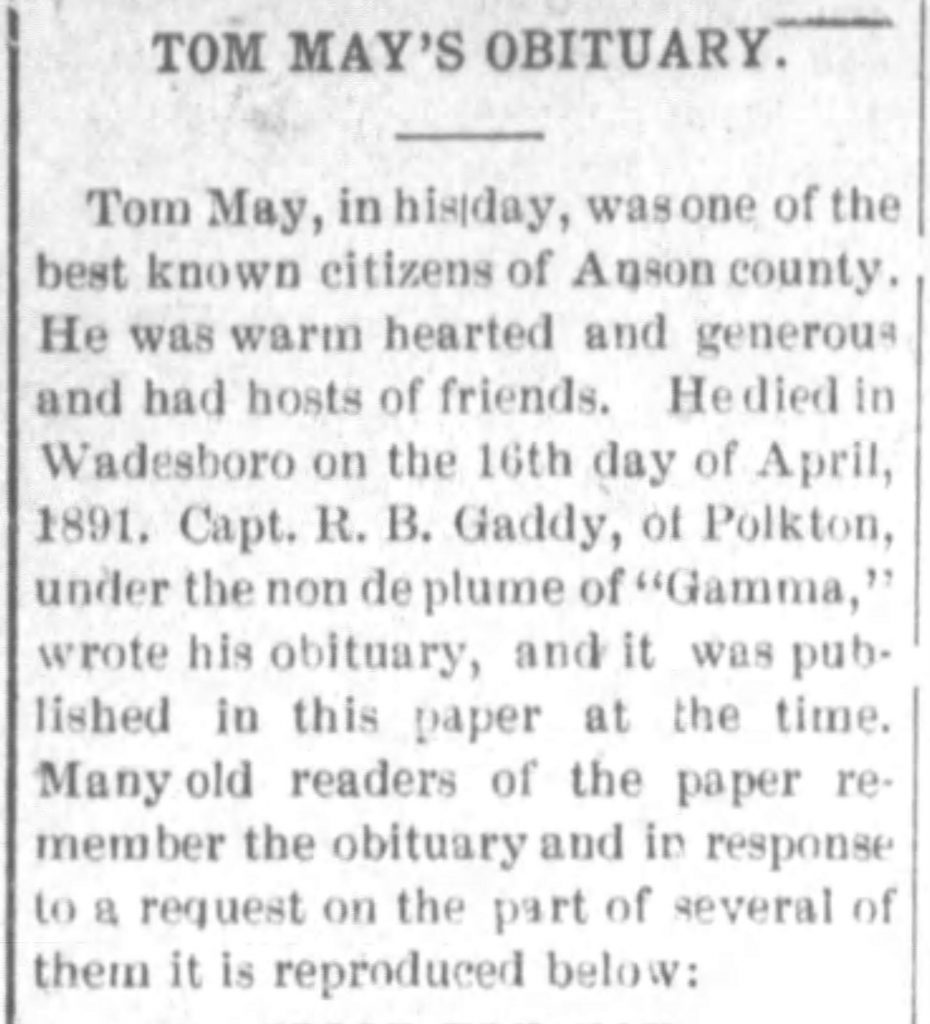 Example of an obituary reprinted years after the person's death [The Messenger and Intelligencer, 09.09.1909]