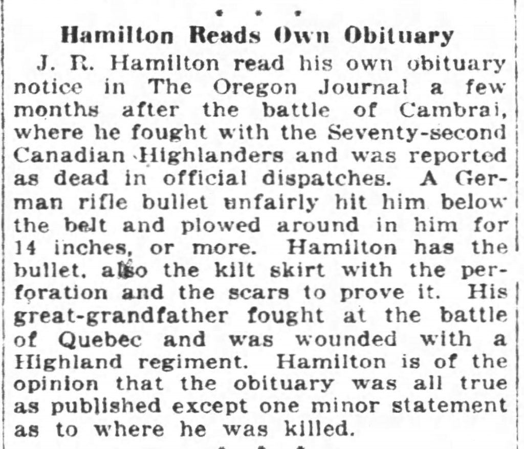 Man reads his own obituary in 1919! [The Oregon Daily Journal, 11.13.1919]