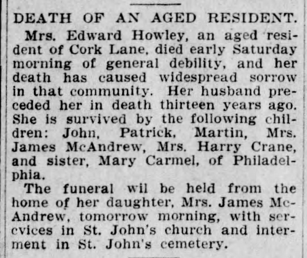 Example of an obituary where the woman is referred to by her husband's name [The Scranton Truth, 05.21.1906]