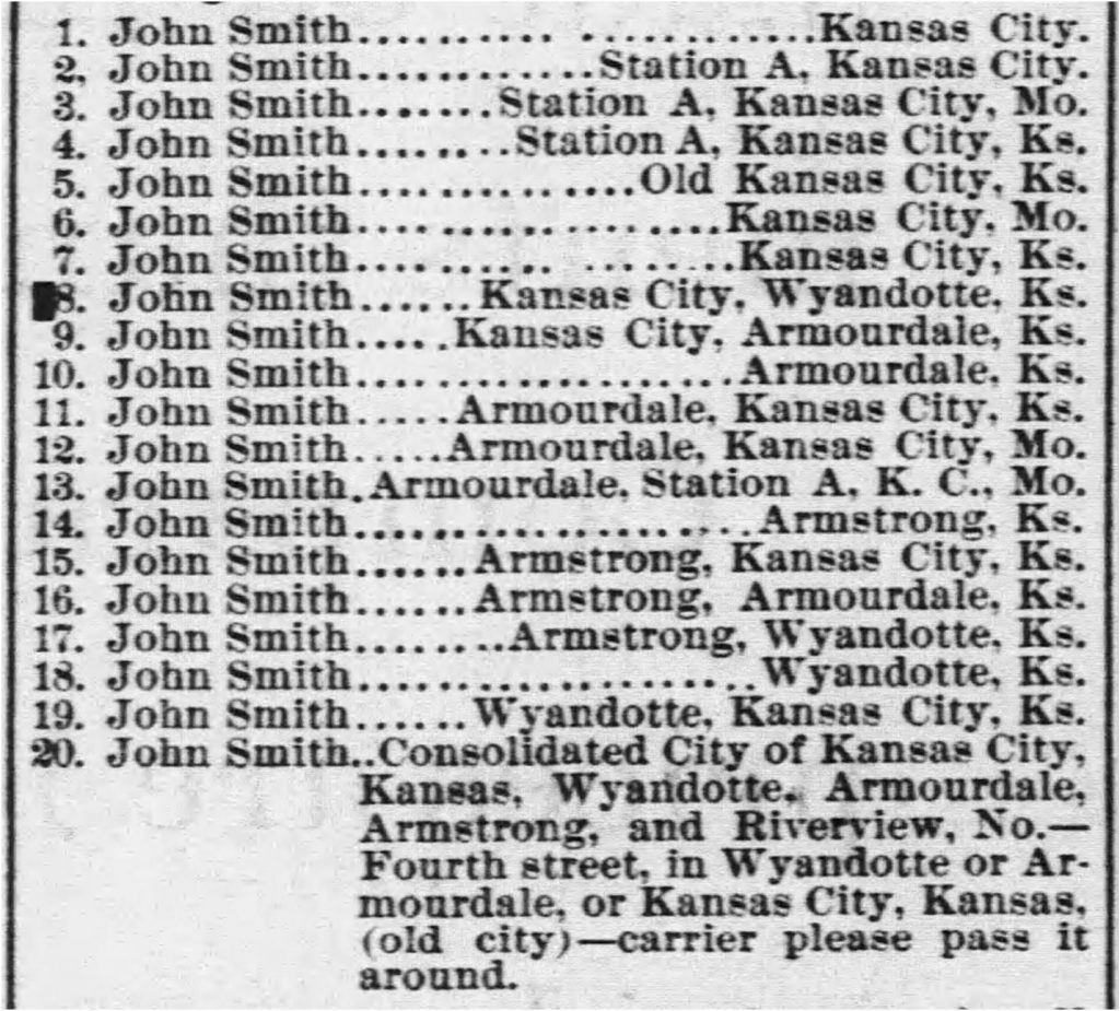 List of some of the John Smiths in and around Kansas City circa 1888 (via the Kansas City Daily Gazette, 08.11.1888)