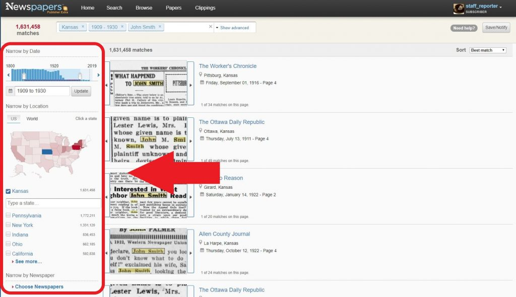 Search filters on Newspapers.com