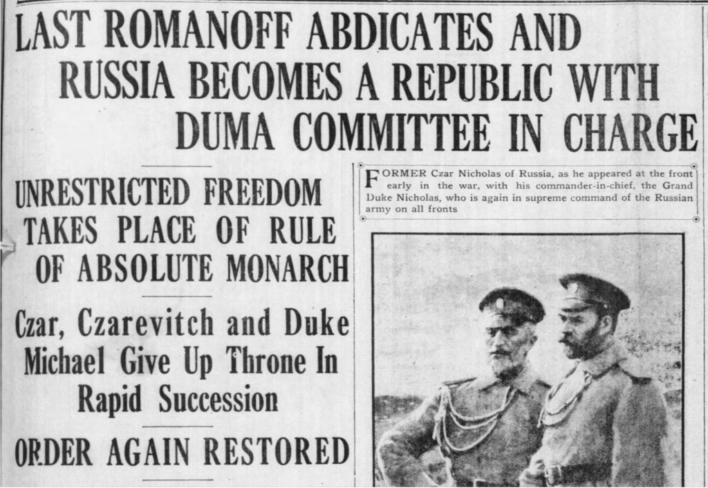 Newspaper headlines announce Nicholas II's abdication as czar (The Pacific Commercial Advertiser, 03.17.1917)