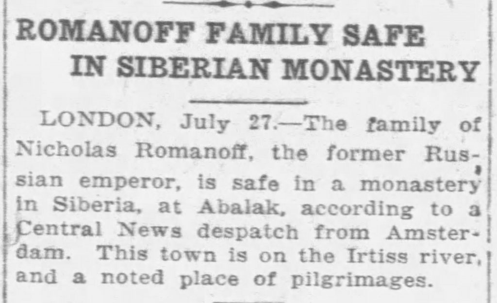 Article incorrectly reports Romanov family is safe (The Morning Leader, 07.29.1918)