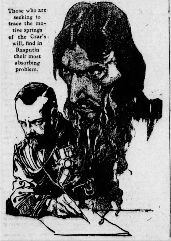 Newspaper interpretation of Rasputin and Czar Nicholas II (The Shreveport Times, 08.16.1914)