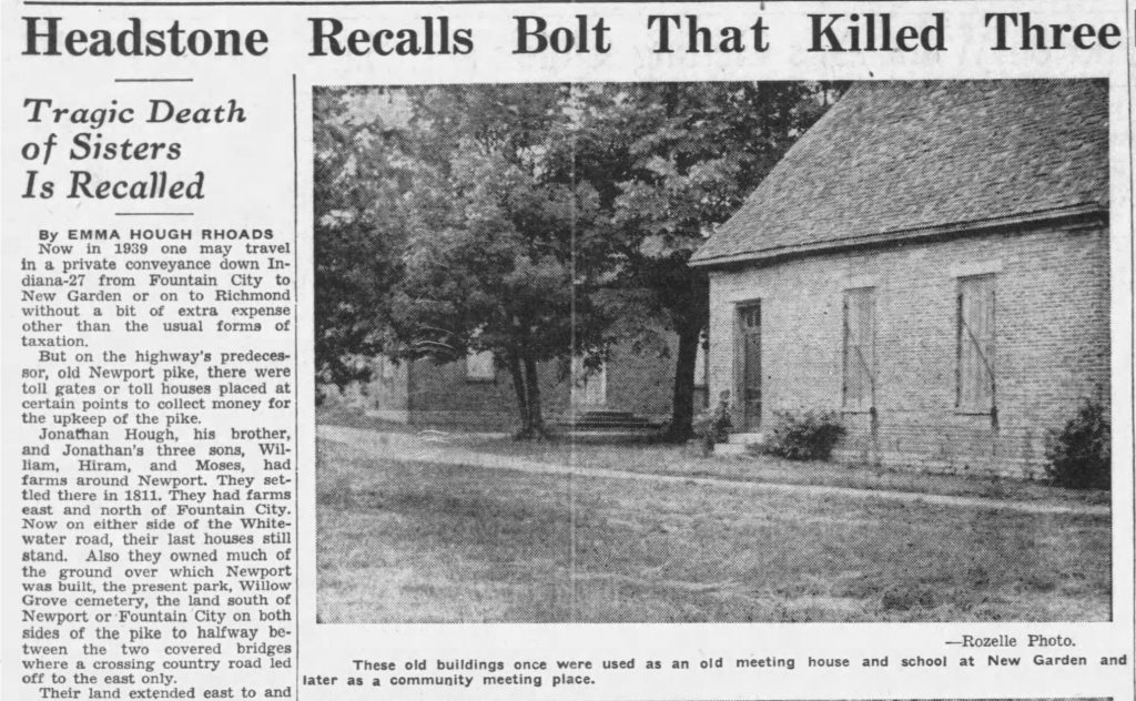 1939 newspaper piece that discusses century-old town history (Palladium-Item, 07.16.1939)