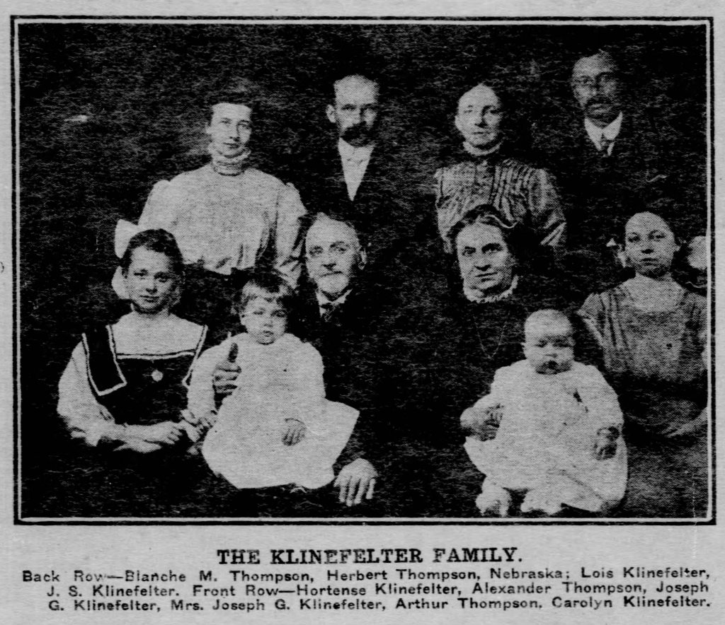Pennsylvania newspaper photo of the Klinefelter Family, 1909. (Gazette-Times, 02.07.1909)