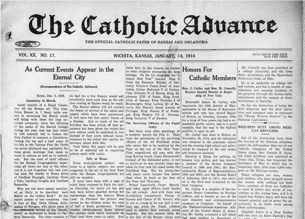 Example of a Catholic-focused newspaper serving Kansas and Oklahoma (Catholic Advance, 01.24.1914)