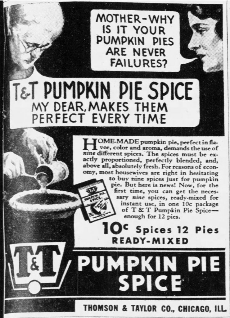 1933 ad for T&T Pumpkin Pie Spice (St. Louis Post-Dispatch, 10.20.1933)