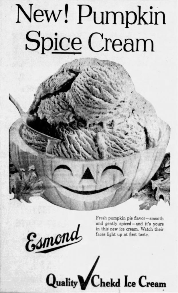 1957 ad for pumpkin spice ice cream (News-Messenger, 11.29.1957)